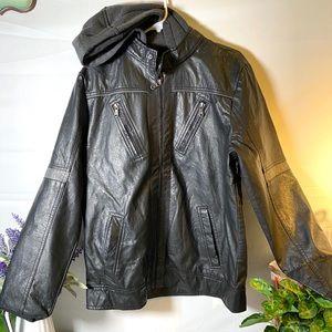 BLACK Men's Faux Leather Jacket
